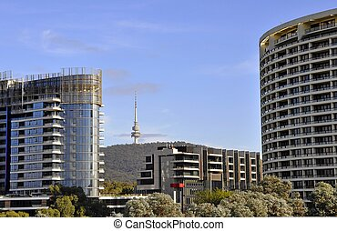 Black Mountain, Canberra - view past two office building...