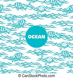 Ocean seamless pattern with fish