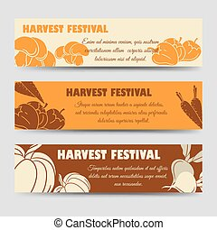 Harvest festival horizontal banners template with pumpkin...