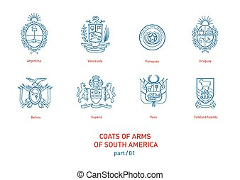 linear images of coats arms South America - Development of...