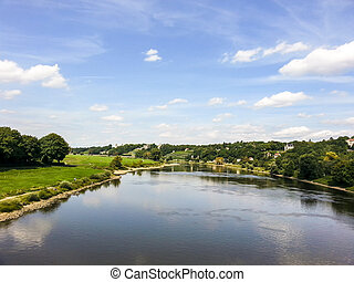 famous Elbe valley in Dresden, Germany under blue sky