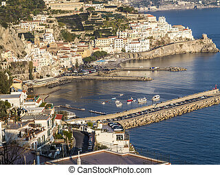 amazing view Sunny day in Amalfi. comune on the Amalfi Coast...