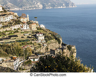 Amalfi Coast view under clear blue sky