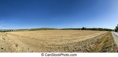 rural landscape with toll highway and bridge in the...