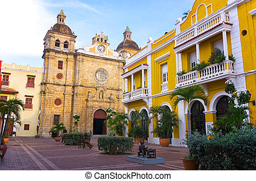 San Pedro Claver Church - View of colonial architecture and...