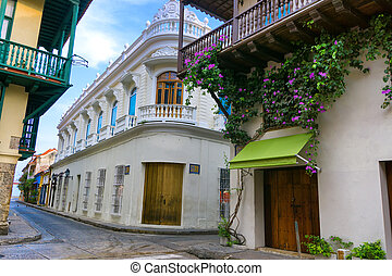 Beautiful Colonial Architecture - Street corner of beautiful...