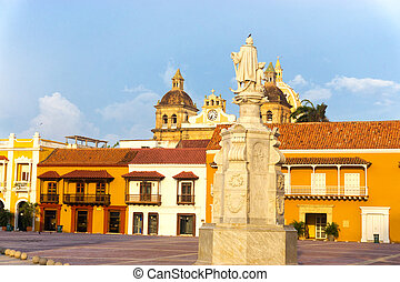 Plaza de la Aduana in Cartagena - View of the Aduana Plaza...