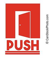 Door sign - push - Vector illustration of the Door sign -...