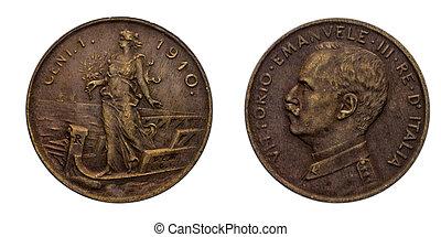 Uno, 1, centavo, lire, cobre, moneda, 1910, Prora, Vittorio,...