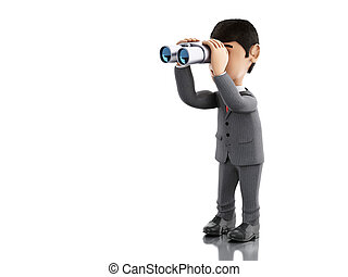 3d Businessman looking through binoculars.