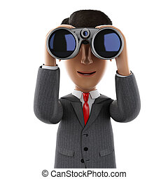 3d Businessman looking through binoculars. - 3d render...