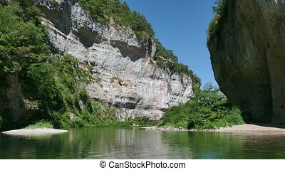 Tarn River Landscape In France - Quiet boat ride on river...