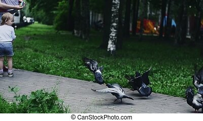 Mother with baby on hands give son sunflower seeds to feed doves. Summer park