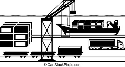 Port cargo terminal - vector illustration