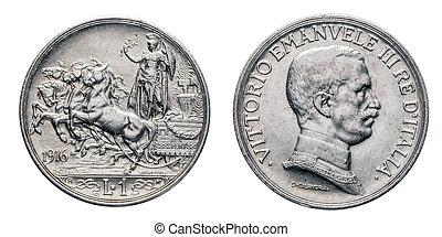 Uno, 1, lira, plata, moneda, 1916, Quadriga, briosa, horsed,...