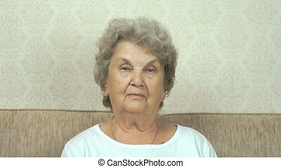 Portrait of aged grandmother with strict look - Elderly...