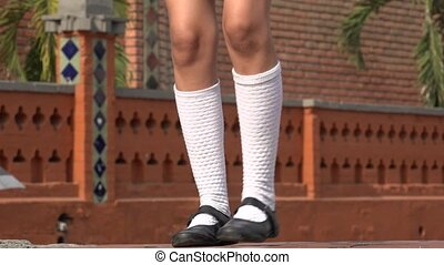 Girl Dancing Wearing White Socks