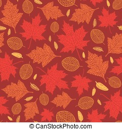 Vector seamless pattern of autumn leaves - Vector seamless...