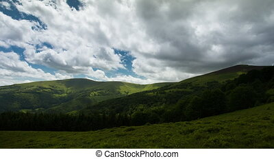 beautiful time lapse landscape summer in the Carpathian...