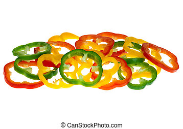 Red, yellow and green bell pepper slices