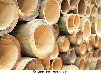 Pile of cutting bamboo background
