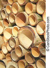 Pile of cutting bamboo
