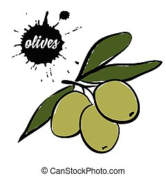 berries green olives - Isolated eco natural food berries...