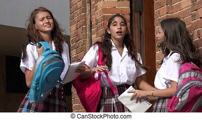 Teen School Girls Socializing