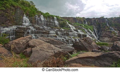 Close View of Waterfall Cascade Panagarh in Vietnam - close...