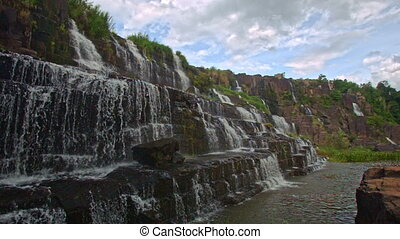 Close View of Waterfall Cascade Steps Panagarh in Vietnam -...