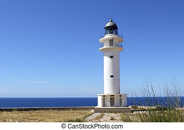Barbaria lighthouse formentera Balearic islands blue sunny...