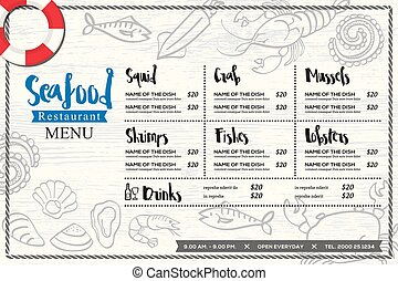seafood restaurant placemat menu design vector template with...