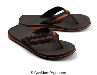Black flip flops - Pair of black mens flip flops isolated on...