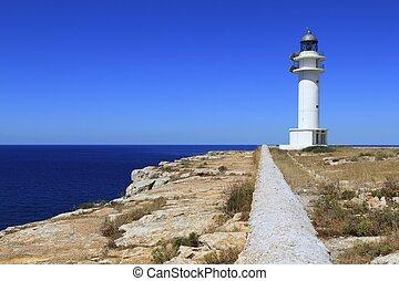 Barbaria lighthouse formentera Balearic islands blue sunny...