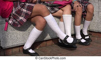 Girls Wearing Skirts And White Socks