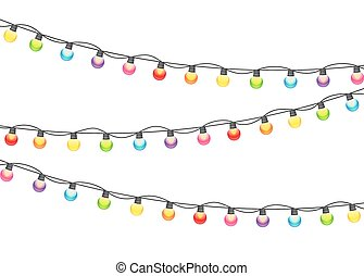 Multicolored Garland Lamp Bulbs Festive Vector Illustration...
