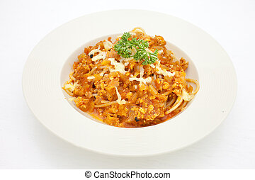 Spaghetti with bolognese sauce.