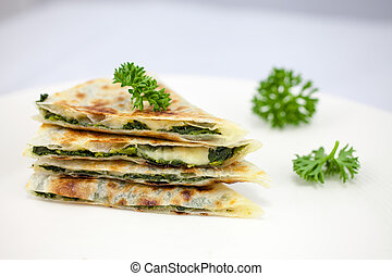 Spinach Cheese Roti - Stack of Spinach Cheese in Roti