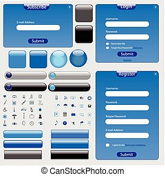 Blue Web Template - Web template with forms, bars, buttons...