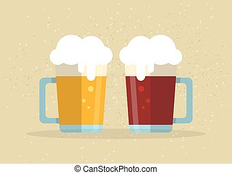 two beer flat mugs