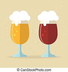 two beer glasses - Two stylized beer glasses. Flat design.