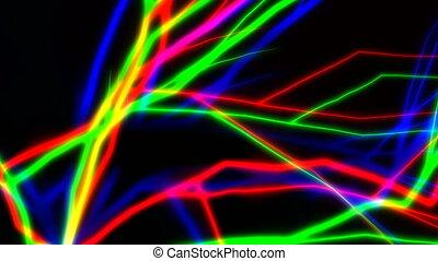 Multitude of colorful lightnings striking everywhere -...