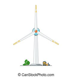 Wind Turbine on White Background, Horizontal Axis Wind...