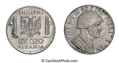 twenty 20 cents LEK Albania Colony acmonital Coin 1940...