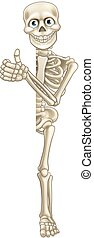 Cartoon Skeleton Thumbs Up Halloween Sign - A skeleton...
