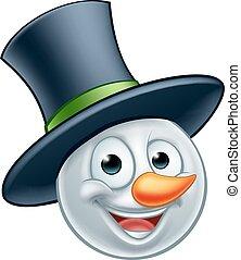Snowman Emoticon - A snowman Christmas emoticon Emoji...