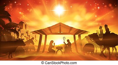 Christmas Nativity Scene - Christmas Christian Nativity...