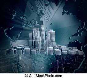 Simple city animation. - Simple city rotating into the Globe...