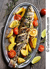 Roasted fish with potato wedges - Roasted fish with baked...