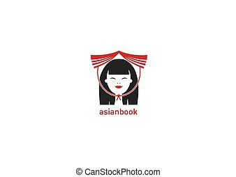 bookstore logo of Asian with book on head